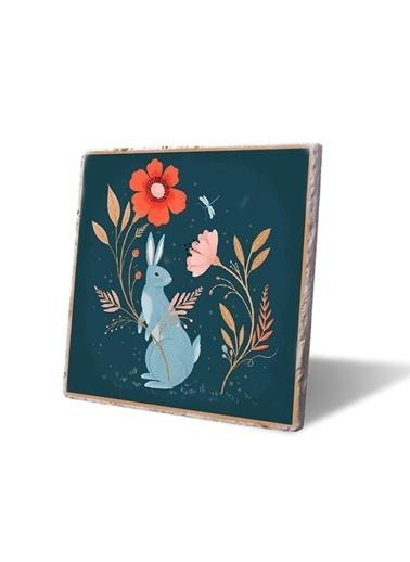 LWP Shop Çiçekler ve mavi Tavşan Bardak Altlığı Renkli